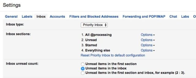 My Gmail inbox settings