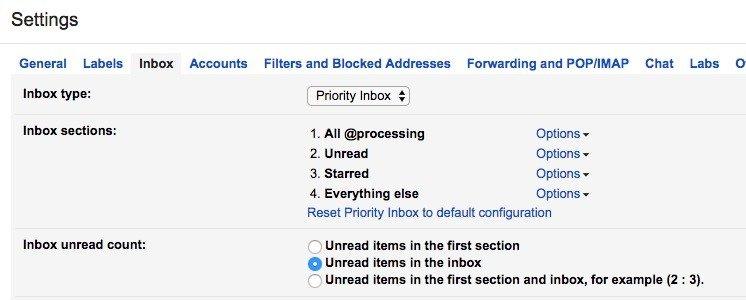 Robby's inbox settings