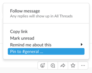 Pin to channel in Slack