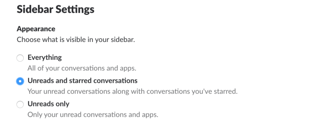 Sidebar settings in Slack