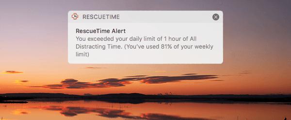 Weekly goal alert