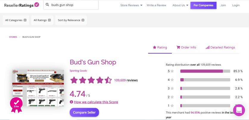 Bud's Gun Shop ResellerRatings Member Page