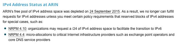 IPV4 Address Status at ARIN