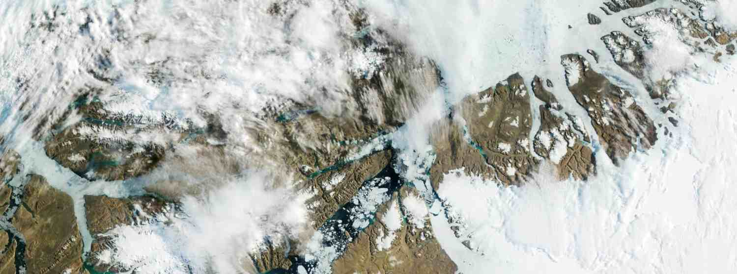 Satellite image of Greenland ice in 2012