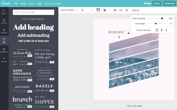 add letter spacing in canva