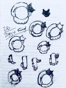Sketches for 3D printed ring.