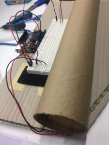Over-sized Arduino-powered tilt switch - cardboard tube version.
