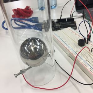 Second prototype for over-sized Arduino-powered tilt switch - clear acrylic tube