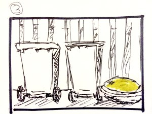 What goes around, comes around - initial storyboard, frame 3