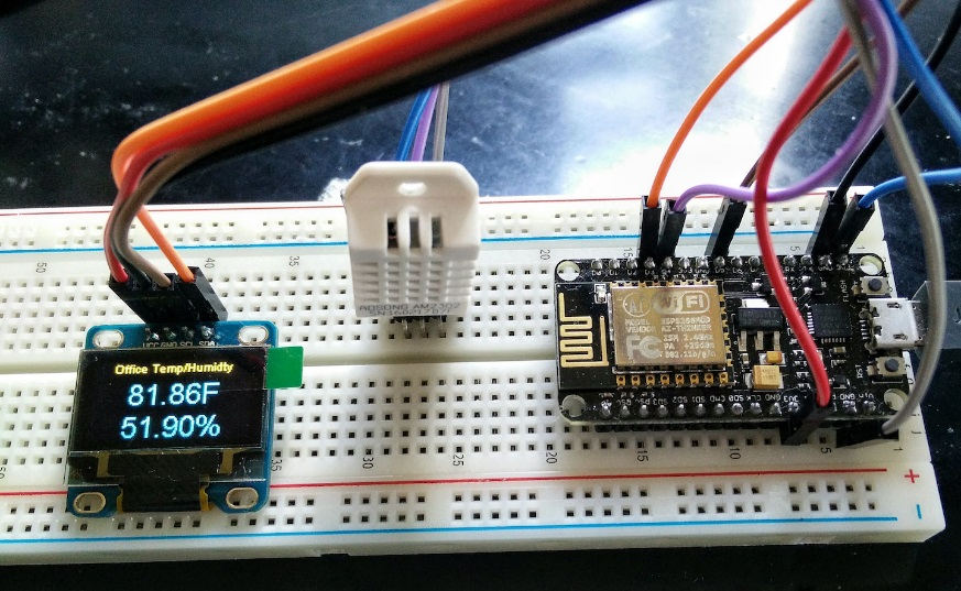 Picture of ESP8266 Send DHT Temperature & Humidity to MQTT & OLED Display
