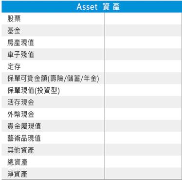 個人財務報表-資產負債表