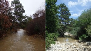 The Calavon River, a Mediterranean IRES, during flowing (left) and dry phases (right).