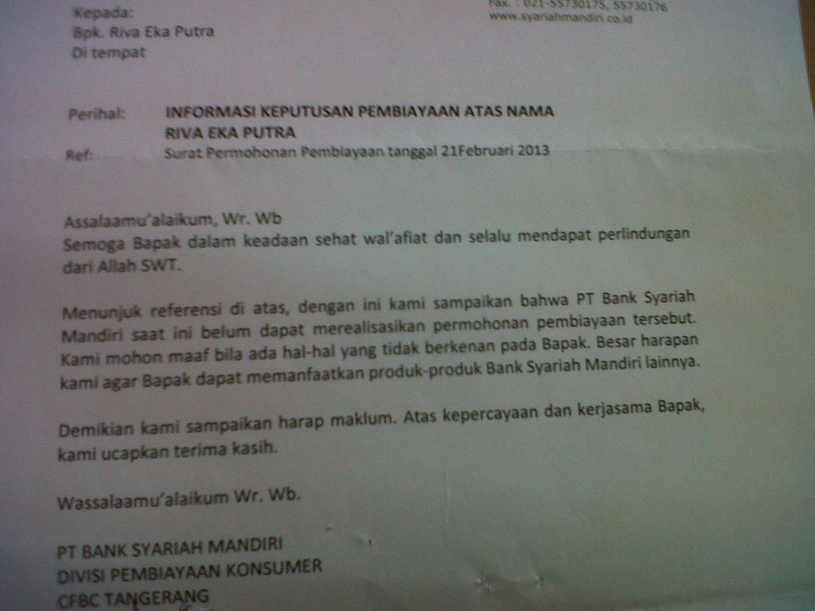 Contoh Surat Penolakan Permohonan Pembiayaan Kpr Dari Bsm Bank Syariah Mandiri Blog Rivaekaputra Com