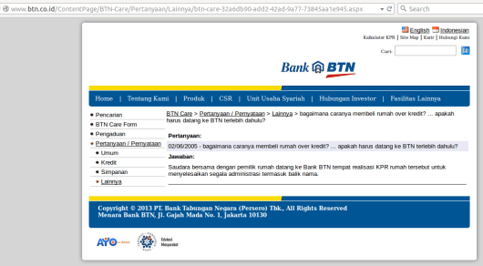 Jawaban dari BTN Care mengenai Over Kredit