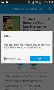 Error - Message from mobile service provider - Price 10000 is outside the limits