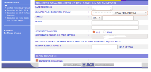 01 Pilihan LLG & RTGS pada transfer rekening bank lain dalam negeri