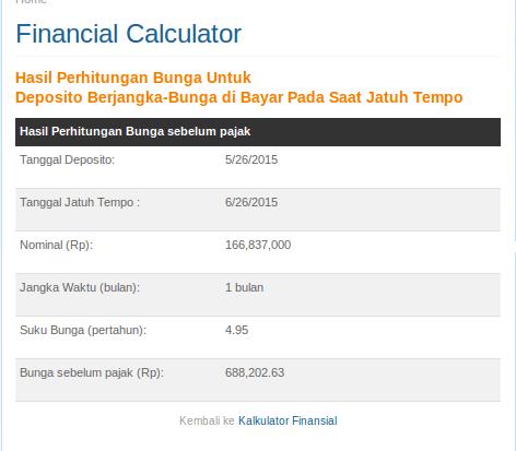 Kalkulator Finansial Bank Mandiri