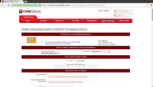 Tampilan Form Aplikasi Kartu Kredit Syariah Gold