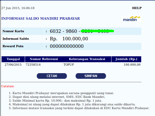 Cek Indomaret Card di Internet Banking Bank Mandiri