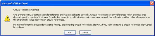 01 Pas Buka Excel, Muncul Warning CIRCULAR REFERENCE WARNING