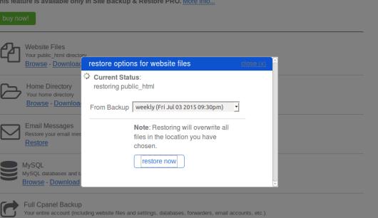 Pilih File backup di Hosting