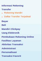 Menu Transfer Online antar bank menghilang sementara (pemeliharaan sistem)