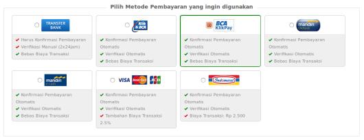 Pilih Metode Pembayaran yang akan digunakan