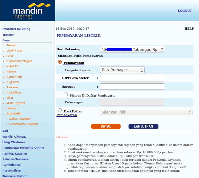 Cara Beli Pulsa PLN Prabayar melalui Internet Banking ...