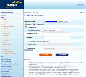 2 Cara Beli Pulsa PLN Prabayar melalui Internet Banking Mandiri