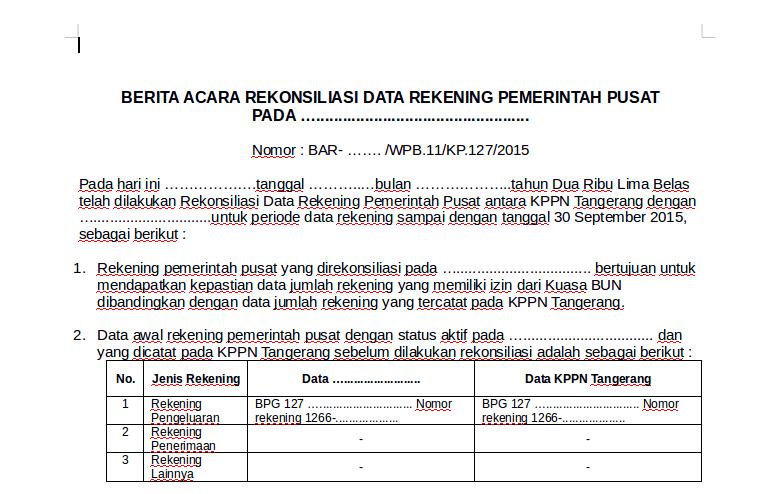 Contoh Berita Acara Rekonsiliasi Data Rekening Pemerintah Pusat
