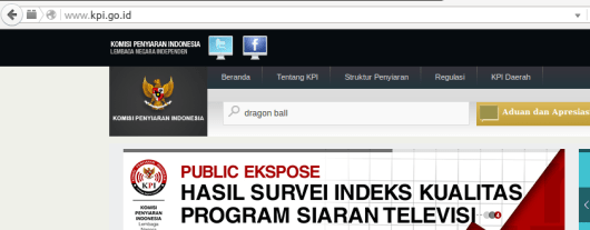 Cari pake keyword dragon ball di website KPI