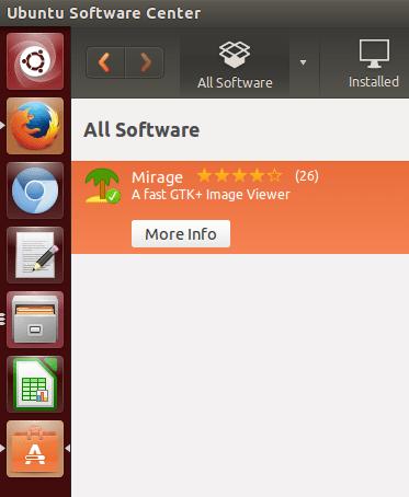 mirage pada ubuntu software center