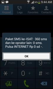 ussd code cek paket sms
