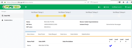epupns go id data utama (tampilan setelah log in)