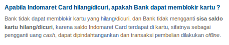 Indomaret Card yang hilang