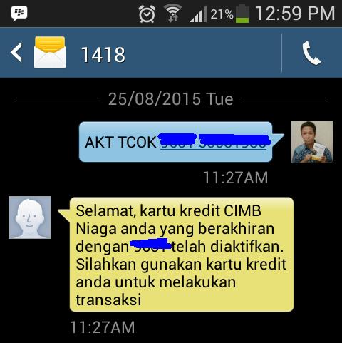 cara aktivasi kartu kredit CIMB Niaga via sms