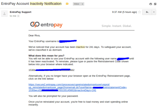 ENTROPAY Inactivity Notification
