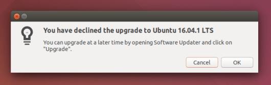 Ubuntu 16.04.1 LTS bisa di upgrade juga melalui Software Updater
