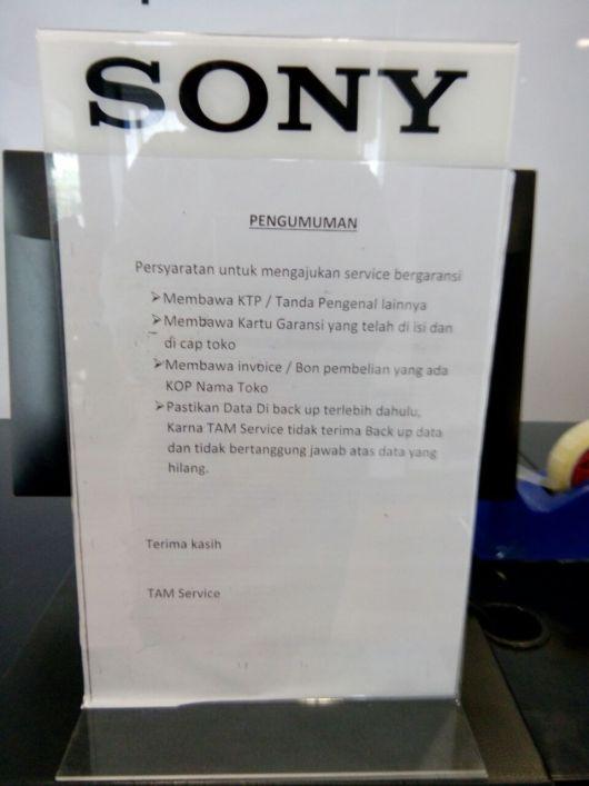 Persyaratan untuk mengajukan service bergaransi - sony