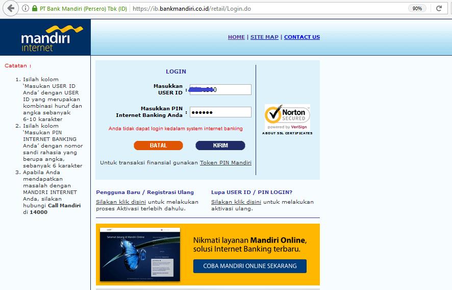 Anda Tidak Dapat Login Kedalam System Internet Banking Bank Mandiri Blog Rivaekaputra Com