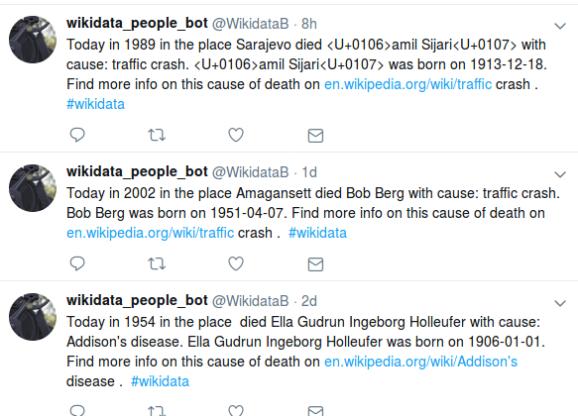 screenshot of past few tweets