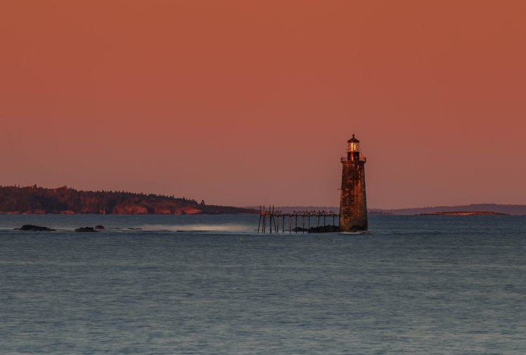 Ram Island Ledge lighthouse sunset