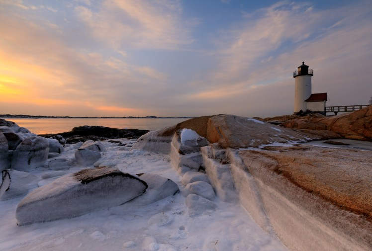Annisquam Lighthouse in Massachusetts in winter