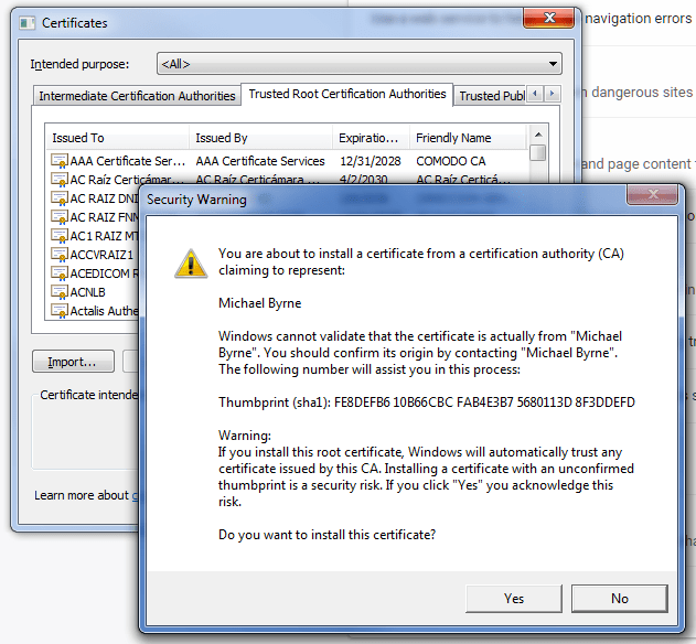 Importing a root certificate
