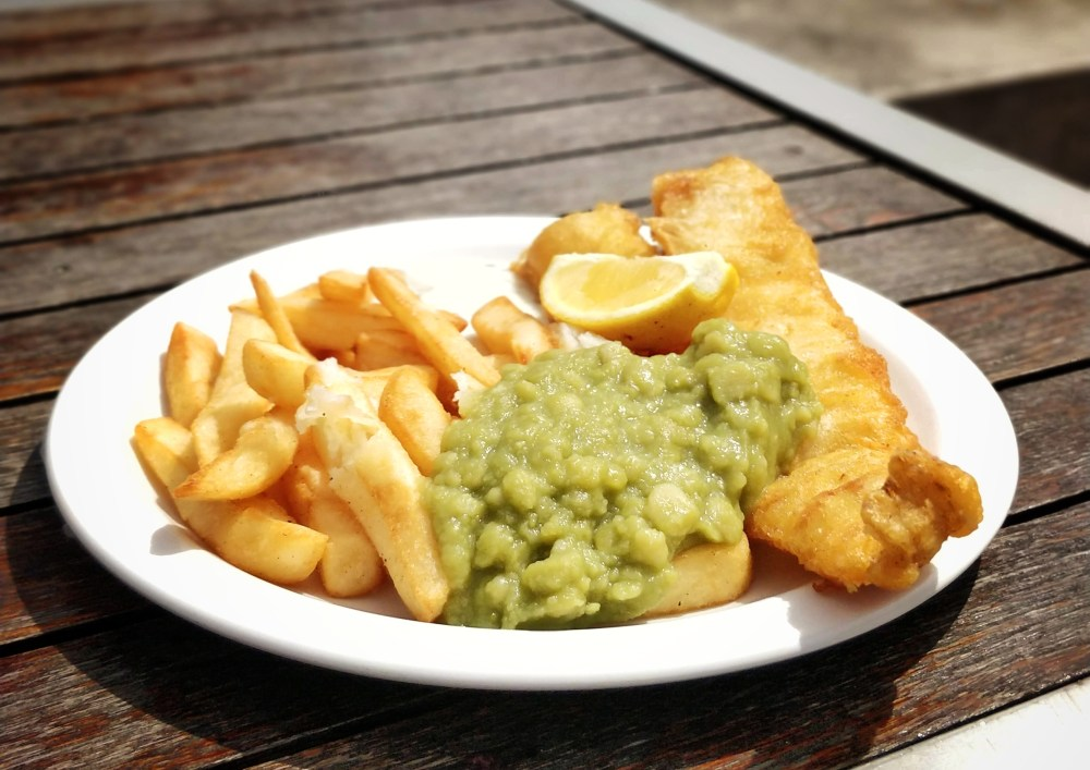 A 'Gram-worthy helping of fish 'n' chips with mushy peas