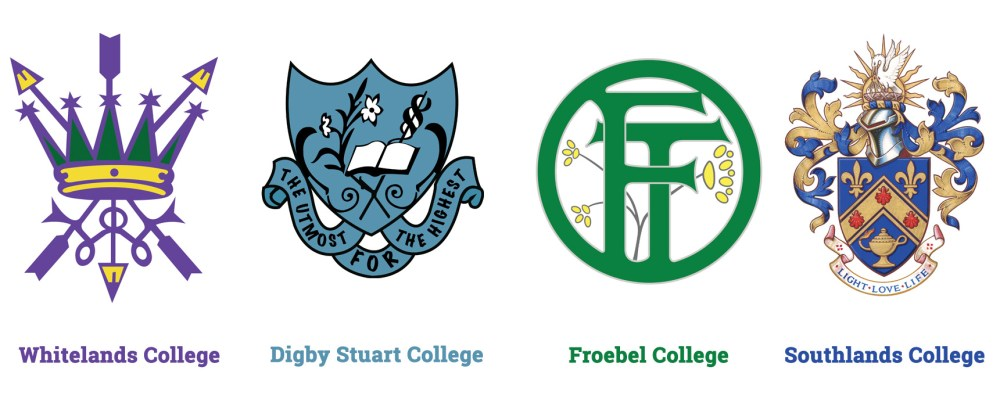 The logos of the four Roehgampton Colleges. From left to right: Whitelands, Digby Stuart, Froebel and Southlands