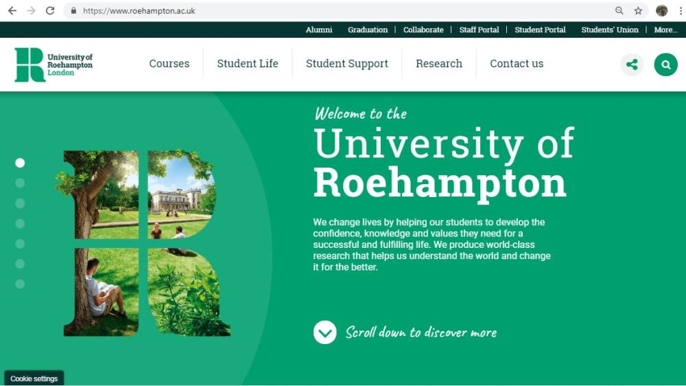 An image showing the University of Roehampton homepage
