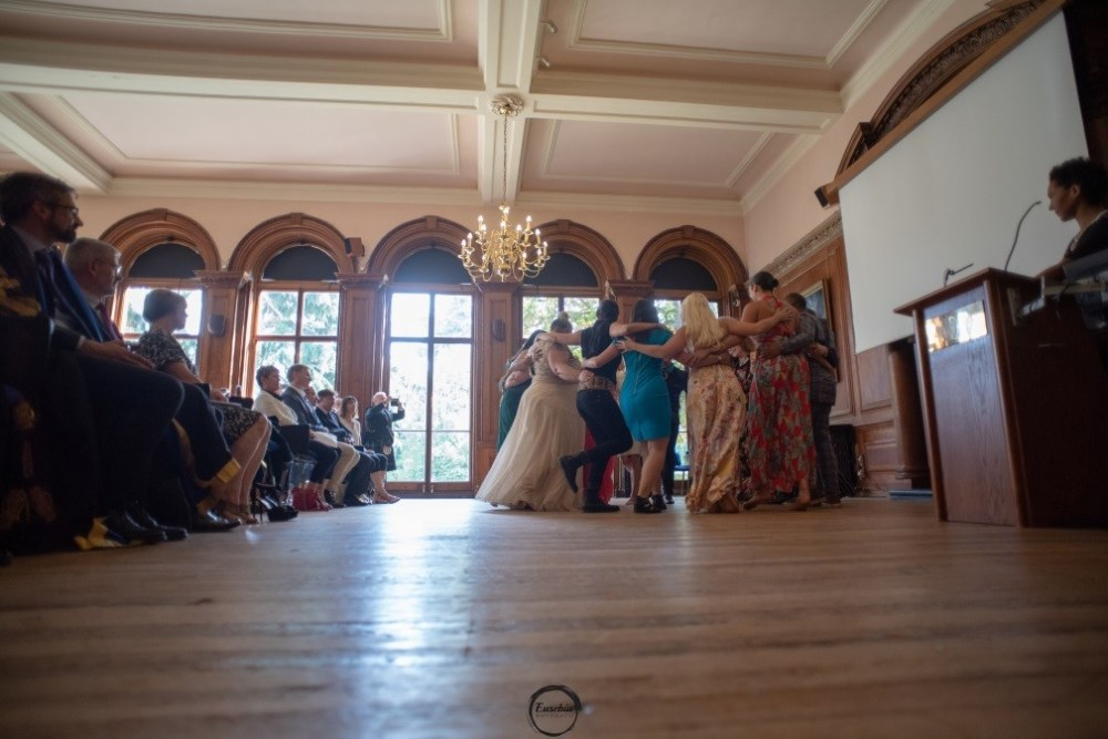 Students dance in the Portrait Room, Grove House (2)