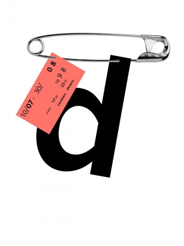 Плакат к выставке текстиля. 1998 На выставке экспонировались работы из ткани, сделанные женщинами. На лаконич-ном плакате Сонноли всё и так, казалось бы, исключительно наглядно. Но он еще усиливает информативность буквой «d» – первой буквой слова «donna», женщина. И снова типографика соединяется у него с фотографией.