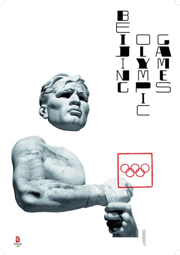 Плакат «Пекинские Олимпийские игры». 2006 Плакат сделан для международной выставки, посвященной Олимпиаде в Пекине. На плакате – выступающая из белого листа скульптура со стадиона Марми в Риме, открытого в 1932 году. Стадион, называющийся сегодня «Foro Оlimpico», раньше был известен как «Foro Mussolini». Его статуи представляют собой типичный образец искусства итальянского фашизма, использовавшего спорт и Олимпийские игры для политической пропаганды. По мысли Сонноли, Олимпиады могут служить пропаганде только демократии и прав человека. Олимпийские кольца сделаны на плакате красными и заключены в тонкую квадратную рамку, вызывая ассоциации с традиционными китайскими печатями. Вертикальные строки надписи со сверхконтрастным сопоставлением элементов букв напоминают иероглифы.